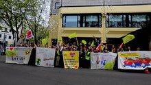 Delegierte der Bundesjugendkonferenz bei einer Aktion zur Tarifrunde bei der Deutschen Post AG